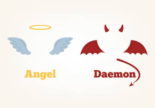 Angel and devil suit elements. Good and bad Angel and devil suit elements. Good and bad. Vector flat cartoon illustration seven deadly sins stock illustrations