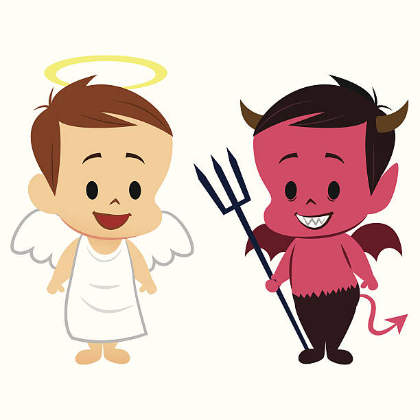 Angel and Devil Angel and Devil. seven deadly sins stock illustrations