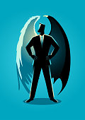 Vector illustration of a man in suit with angel and devil wings, concept for good and evil