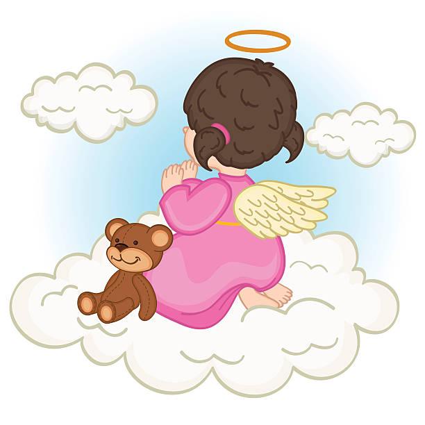 angel baby girl on  cloud vector art illustration