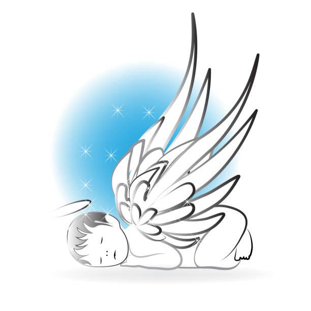 angel baby silhouette symbol vektor - schutzengel stock-grafiken, -clipart, -cartoons und -symbole