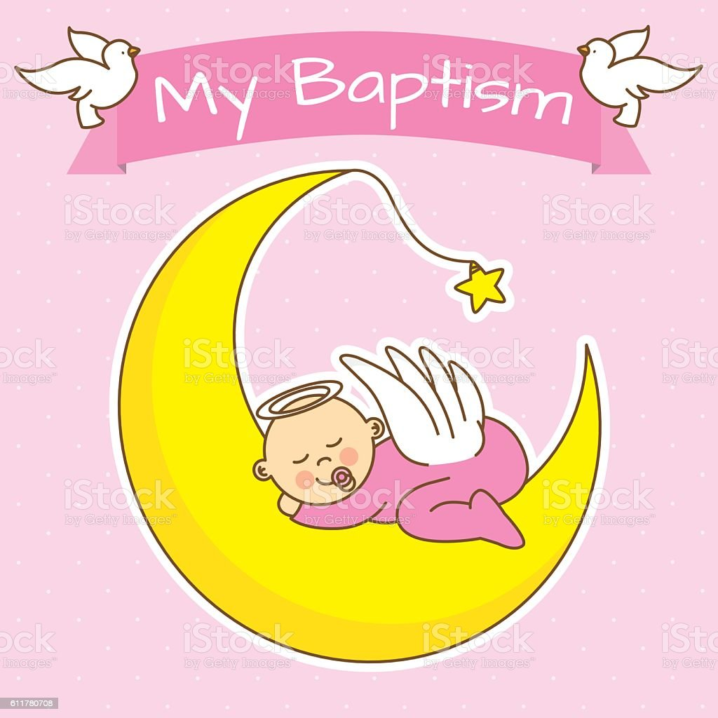 angel baby sleeping on the moon vector art illustration