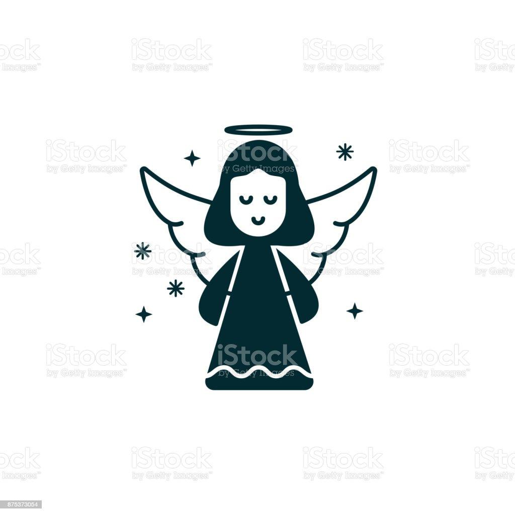 Engel Schwarze Silhouette Symbol Auf Isolierte Hintergrund