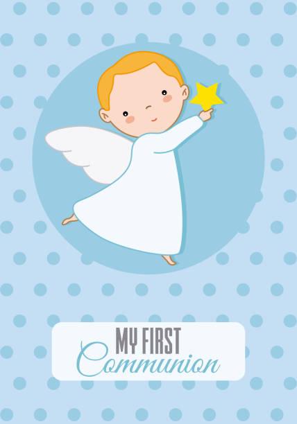 angel boy vector art illustration