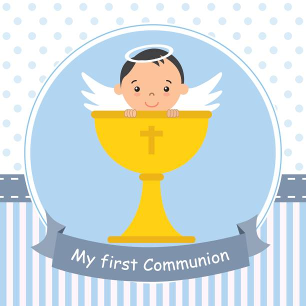 angel boy with calyx - baptism stock illustrations, clip art, cartoons, & icons