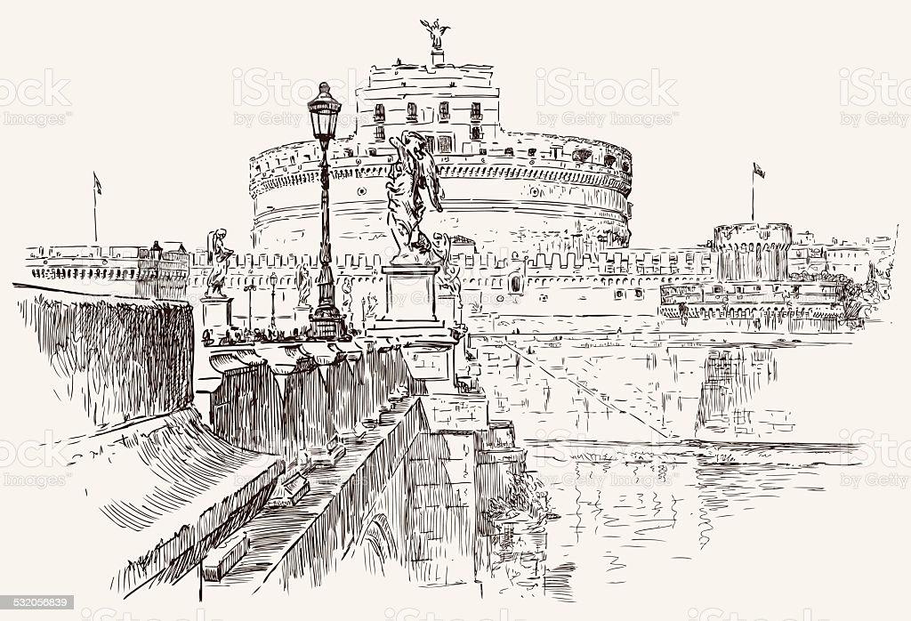 Angel Castle sketch vector art illustration
