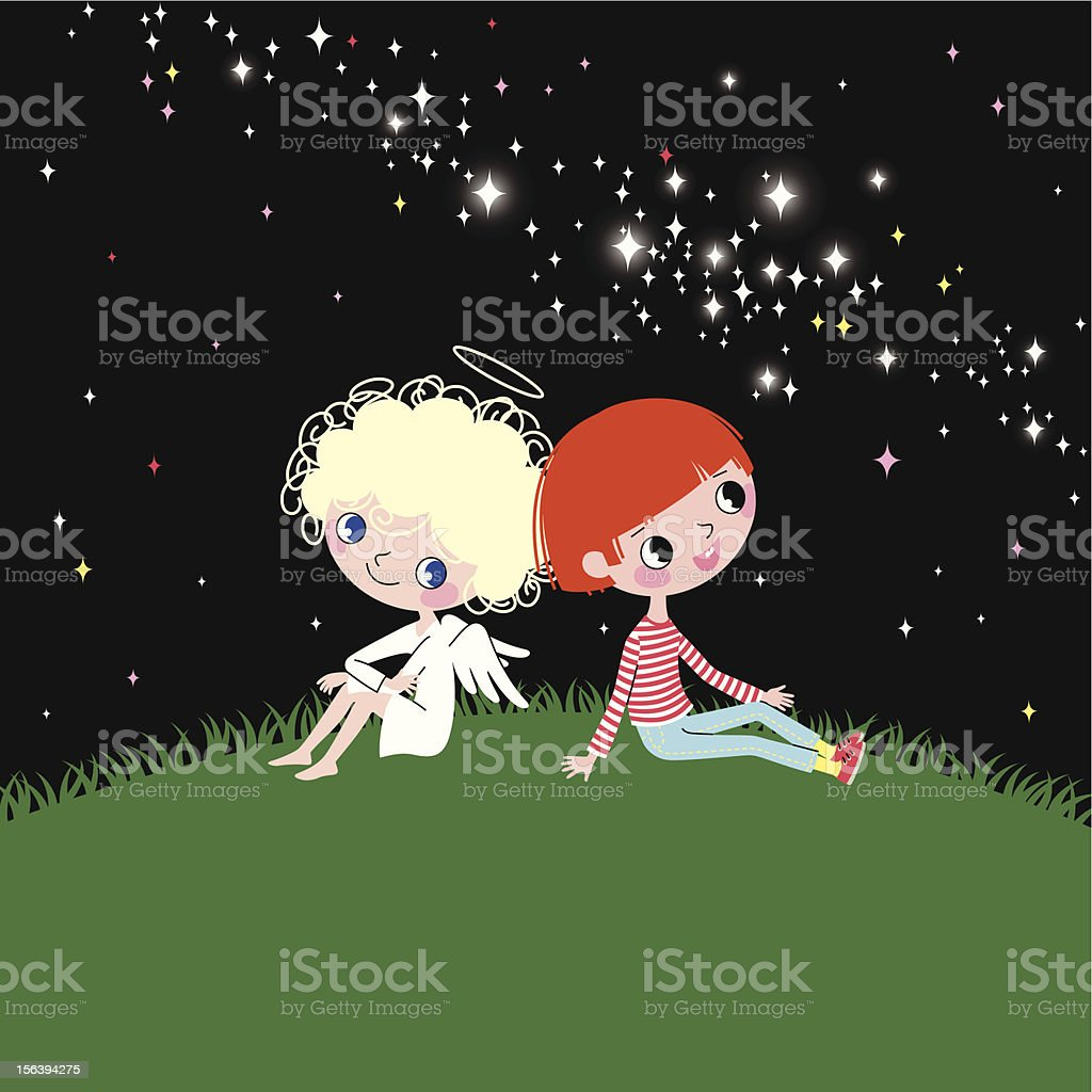 Angel, Child and Milky Way. royalty-free stock vector art