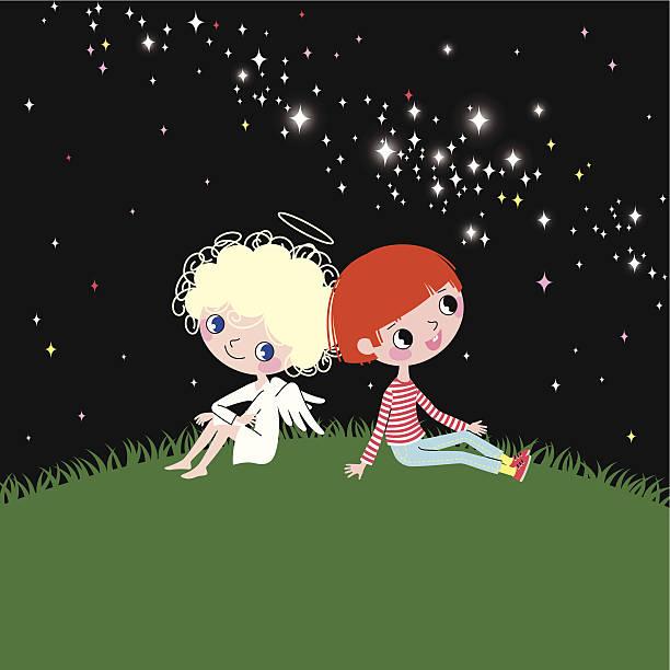 angel, kind und milchstraße. - milky way stock-grafiken, -clipart, -cartoons und -symbole