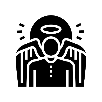 angel christianity glyph icon vector illustration