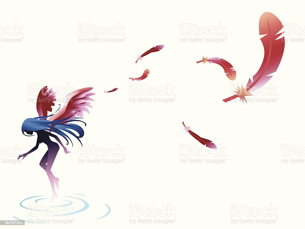 angel feather wing vector art illustration