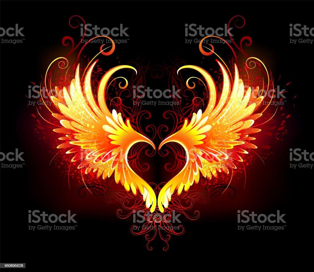 Ilustración De ángel Corazón Con Alas De Fuego Y Más Banco De