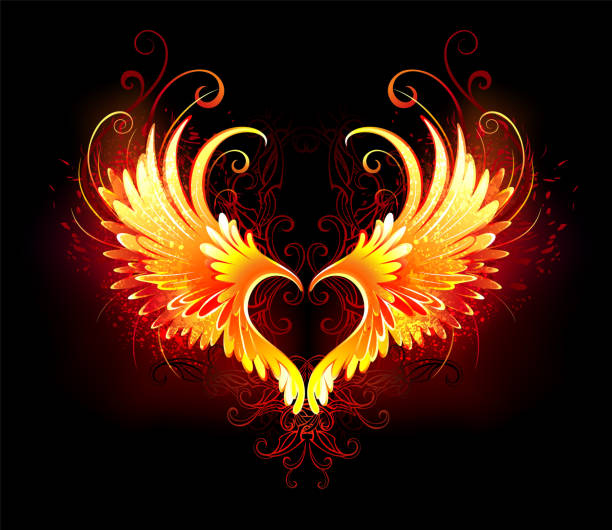 illustrazioni stock, clip art, cartoni animati e icone di tendenza di angel fire heart with wings - piume colorate