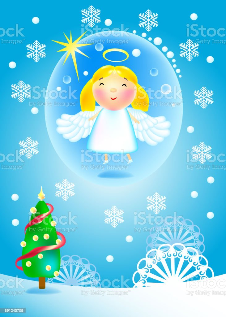 angel flies vector art illustration