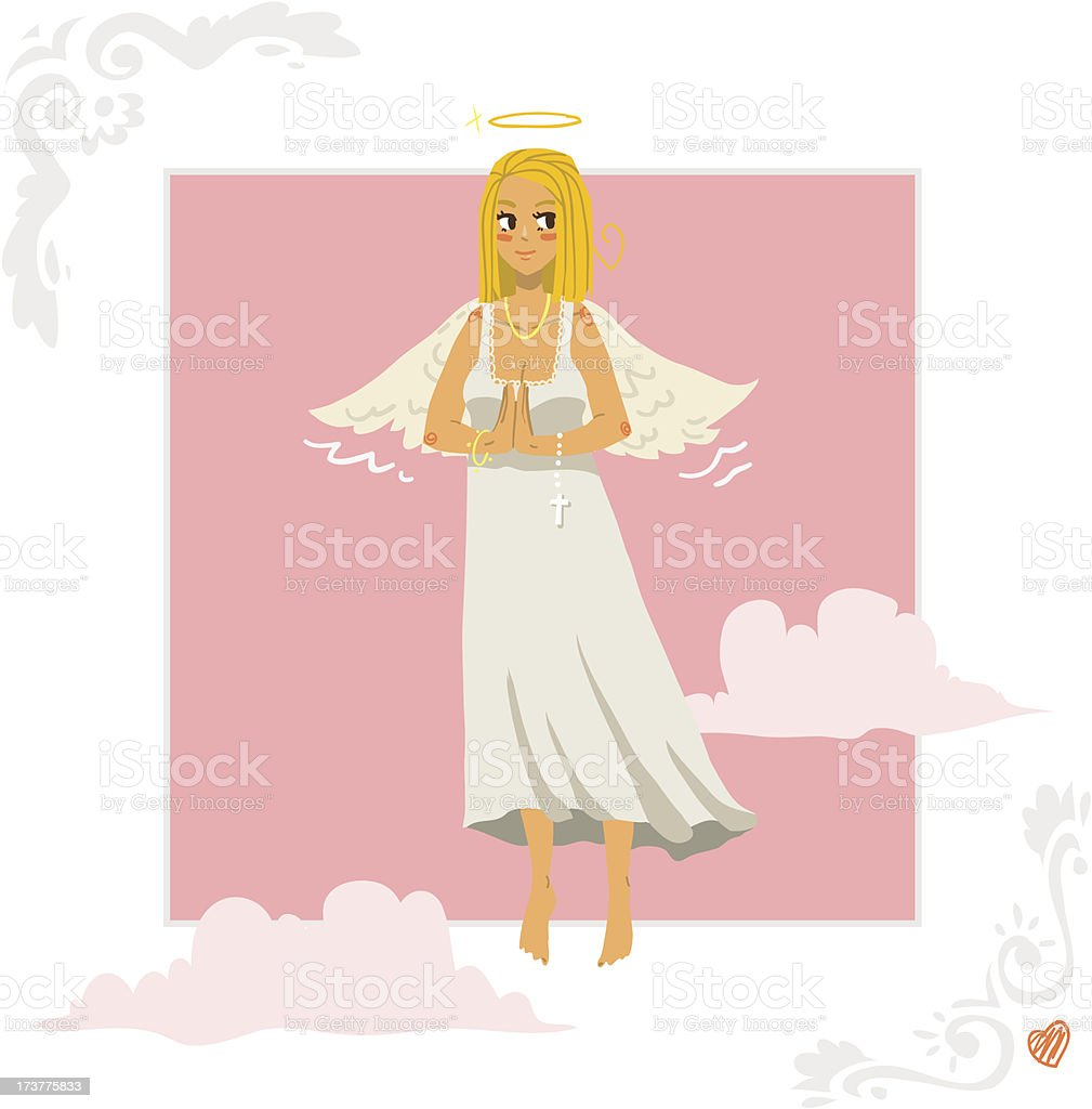 Angel girl greeting card vector art illustration