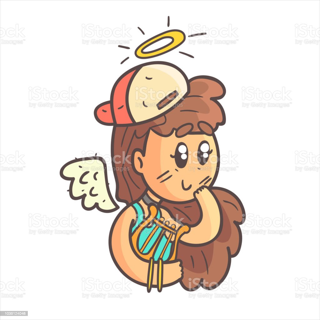 Angel Girl In Cap, Choker And Blue Top Hand Drawn Emoji Cool Outlined Portrait vector art illustration
