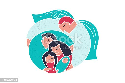 Angel God hugs couple family. Care about peace in family. Cute doodle trendy people vector illustration. Cartoon flat mom dad daughter and baby religious ideas. God cartoon trendy doodle people.