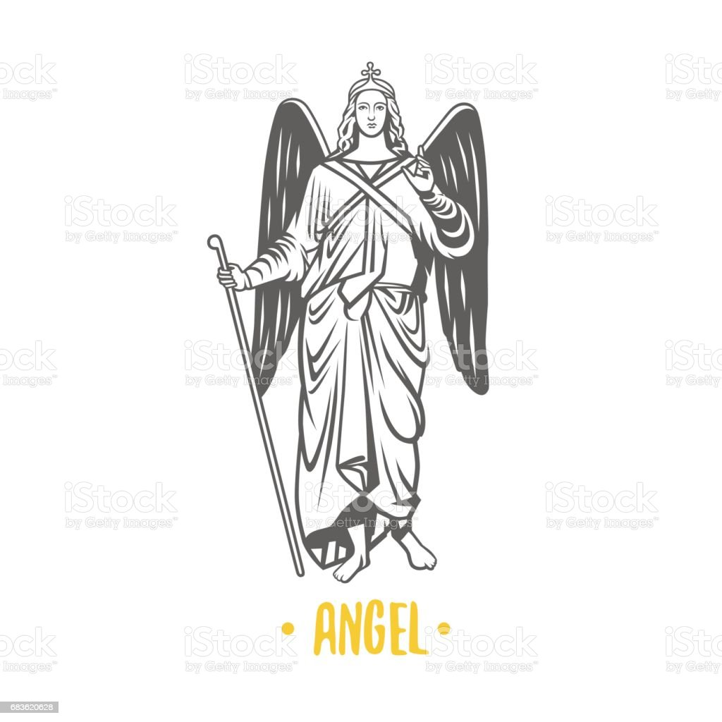 Ángel de Dios. Ilustración de vector. - ilustración de arte vectorial