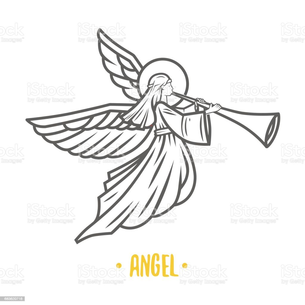 Angel god. Vector illustration. vector art illustration