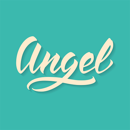 Angel. Hand drawn lettering, vector calligraphy text.