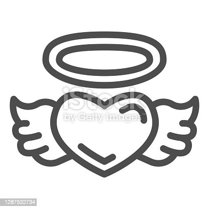 istock Angel heart line icon, valentine day concept, Heart with wings and nimbus sign on white background, halo and wing on heart icon in outline style for mobile concept. Vector graphics. 1287532734