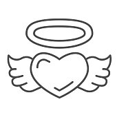 istock Angel heart thin line icon, valentine day concept, Heart with wings and nimbus sign on white background, halo and wing on heart icon in outline style for mobile concept. Vector graphics. 1287532756
