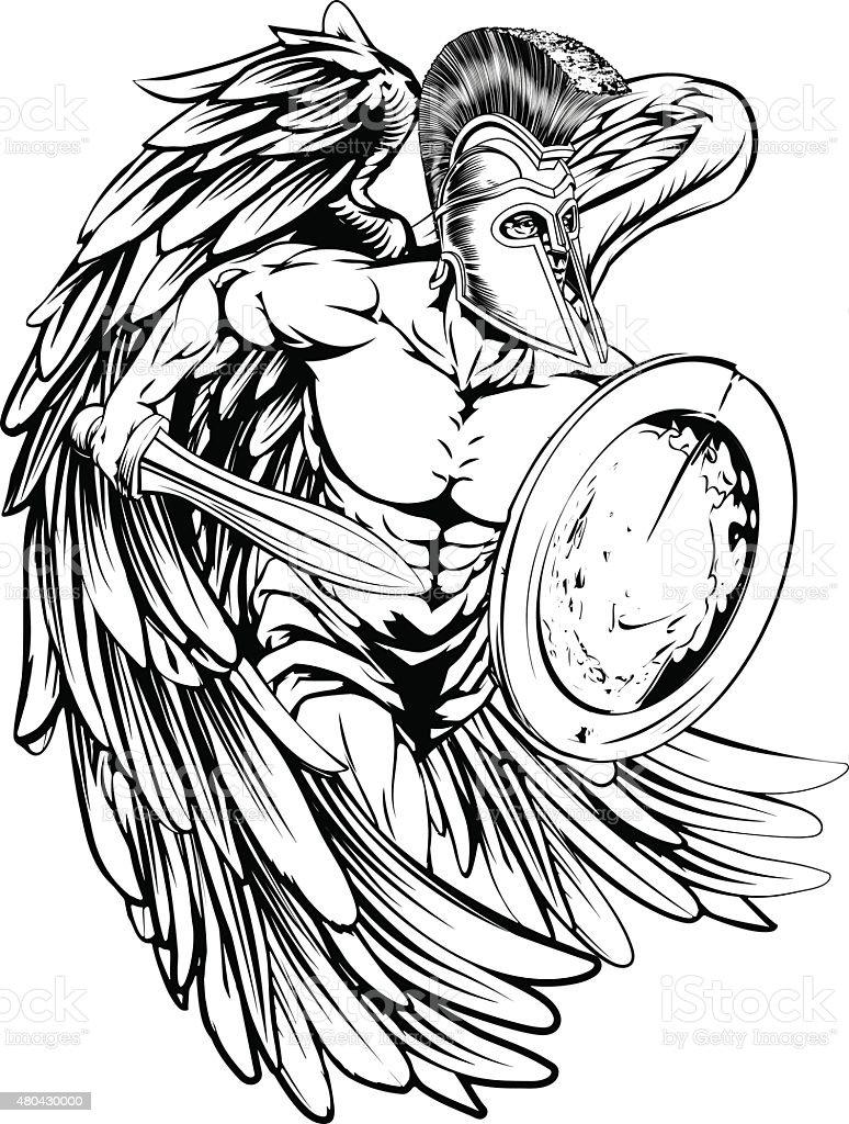 Ángel en armour - ilustración de arte vectorial