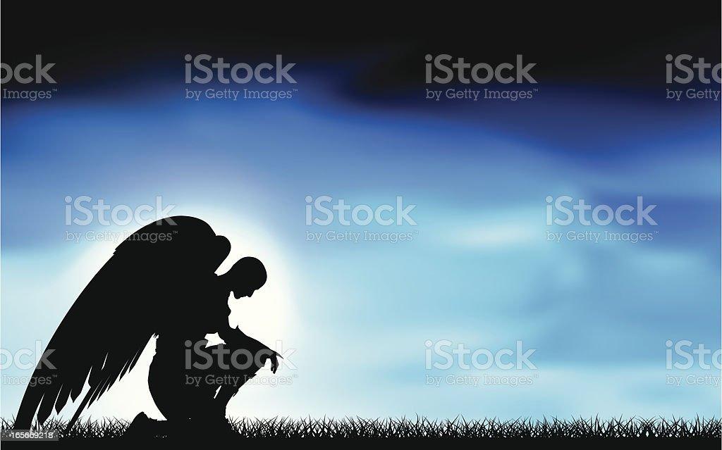 Ángel en la luz de la luna. - ilustración de arte vectorial