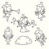 Cute little angels illustration set.