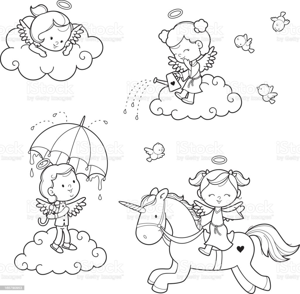 Angel Kids Coloring Set Stock Vector Art More Images Of Afterlife - Kids-coloring-pictures