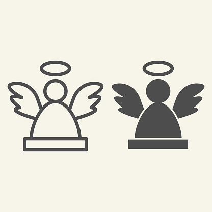 Angel line and solid icon. Christmas holy angel silhouette outline style pictogram on white background. New Year decoration signs for mobile concept and web design. Vector graphics.