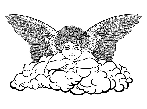 Angel on a cloud, outline drawing of black color isolated on white background