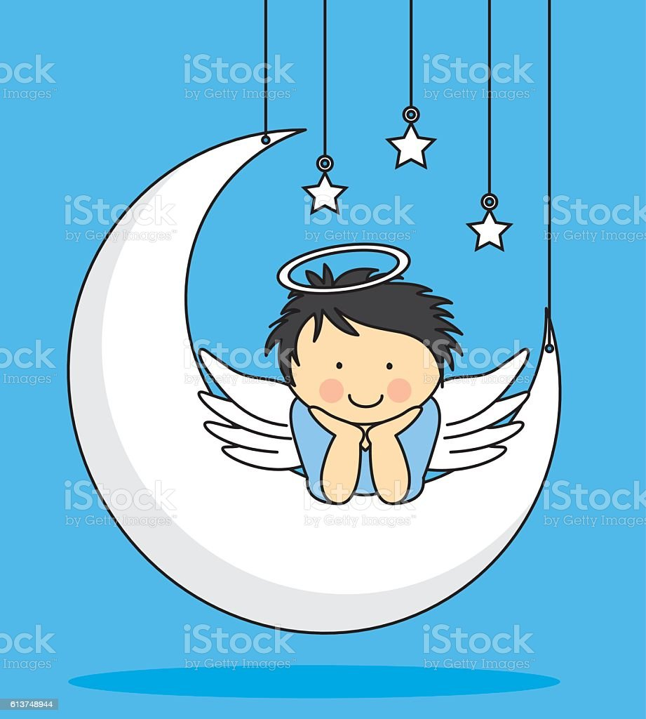 Angel on a Moon vector art illustration