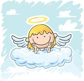 Angel on the cloud in colourful cartoon style