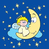 Sweet angel kid on the moon and stars at night.