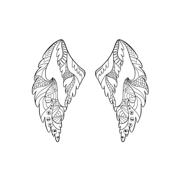 Royalty Free Tribal Angel Wings Tattoo Designs Drawings Clip Art