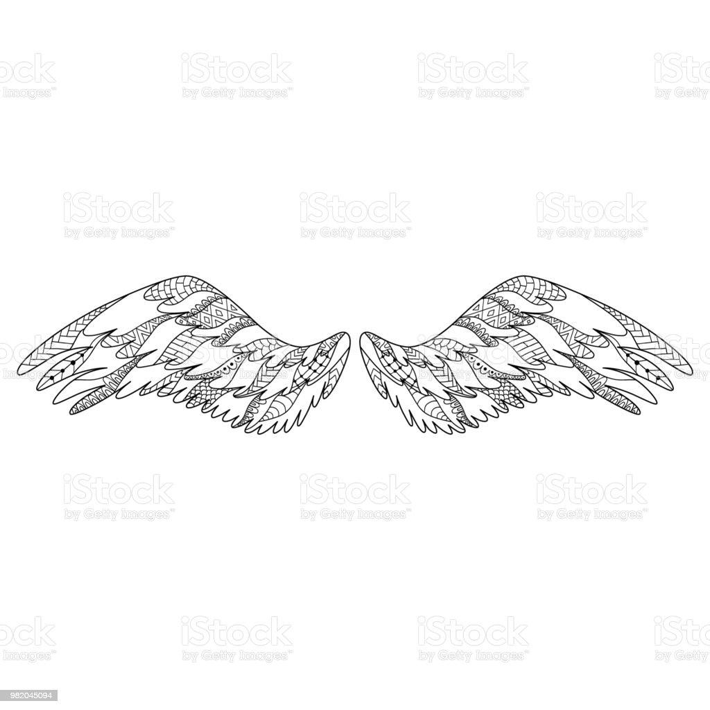 Ilustración De ángel O Pájaro Alas Silueta Adornada