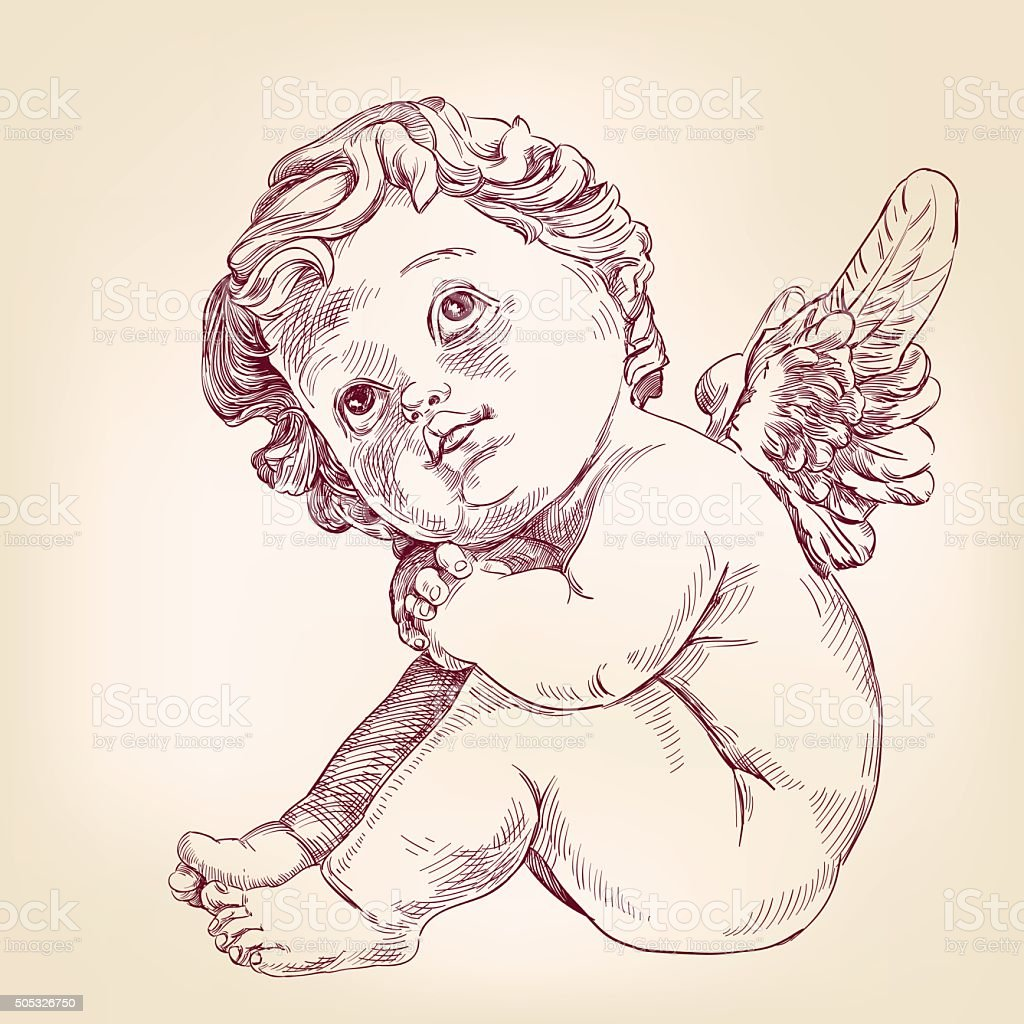 angel or cupid little baby  hand drawn vector llustration vector art illustration