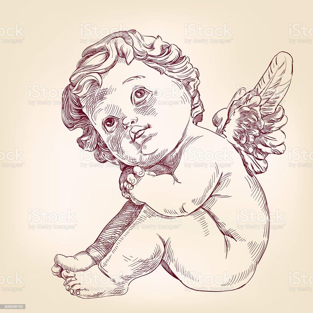 Ángel o Cupido little baby dibujados a mano vector llustration - ilustración de arte vectorial