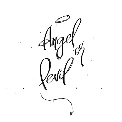 Angel or devil lettering composition slogan for t-shirt  teenager or hipster style. Opened book and cute little cat near typography compositions. Drawn pentagram and candles. Street style for younger