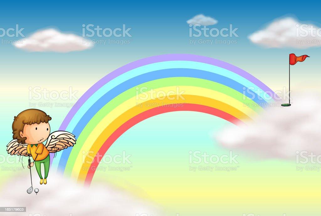 Angel playing golf near the rainbow royalty-free stock vector art