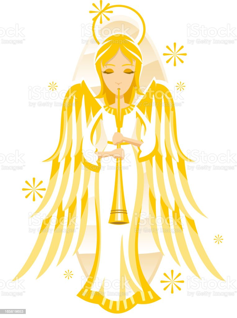 Angel playing horn royalty-free stock vector art