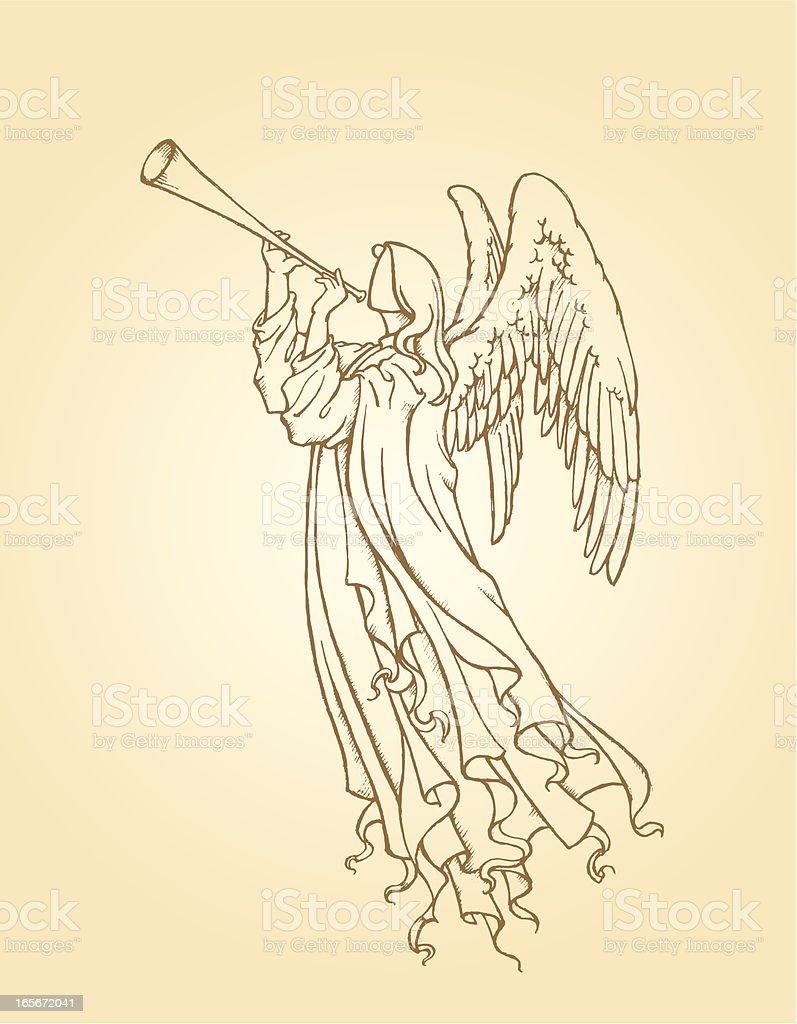 Tocando trompeta de Angel - ilustración de arte vectorial