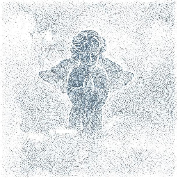 angel beten und wolken - schutzengel stock-grafiken, -clipart, -cartoons und -symbole