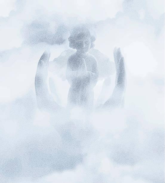 angel beten in heaven - schutzengel stock-grafiken, -clipart, -cartoons und -symbole