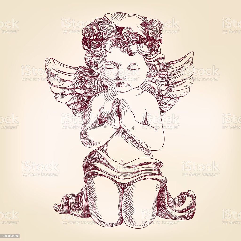 angel prays on his knees hand drawn vector llustration  realistic vector art illustration