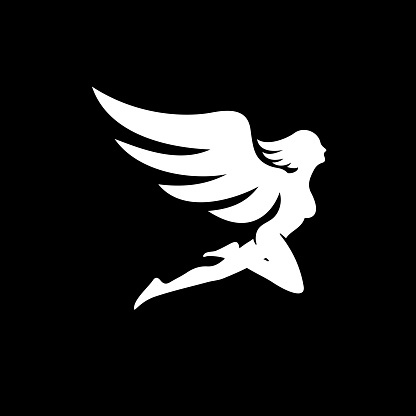 Angel silhouette vector.