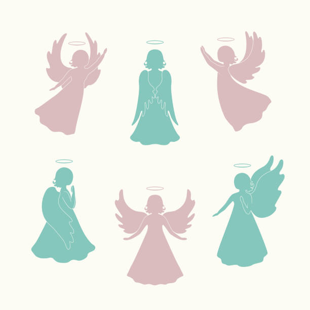 Angel silhouettes isolated on light vector art illustration