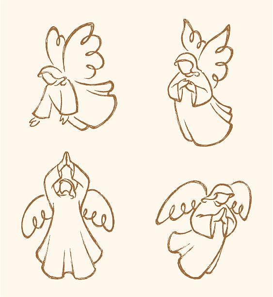 Angel Sketch Set 2 vector art illustration