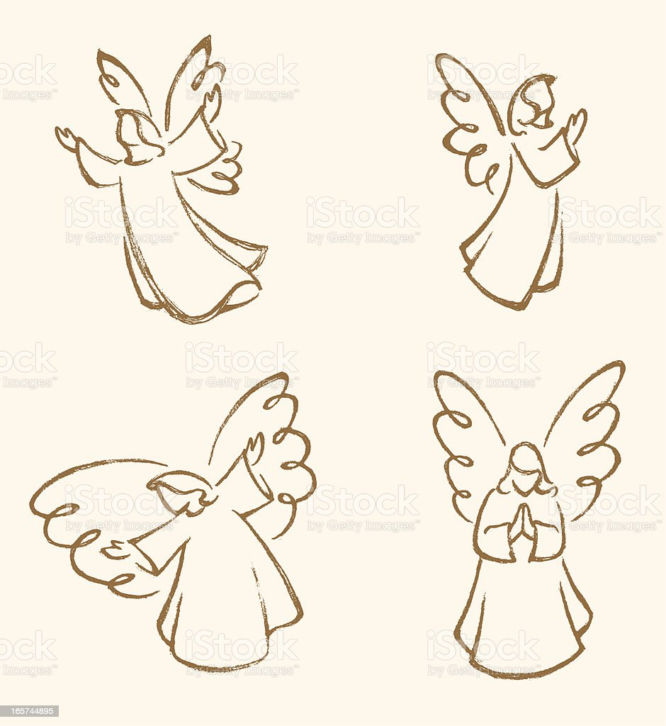 Angel Sketch Set vector art illustration