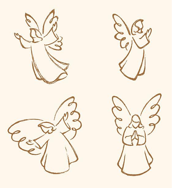 Angel Sketch Set vector art illustration